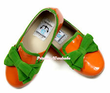 Bright Orange Kelly Green Bow Slip On Party Casual Girl Shoes SE020