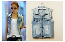 NEW Womens Ladies Frayed Personalized Cardigans Denim Jean Vests Coats 5 Sizes