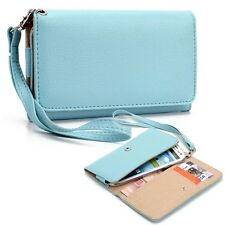 Blue Ladies Smart-Phone PU Leather Wrist-Let Clutch Cover Guard Pouch Card Hold