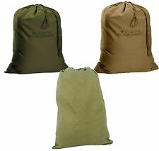 Military Type Barracks Bags - Durable Canvas Laundry Clothes Bag w/ Drawstring