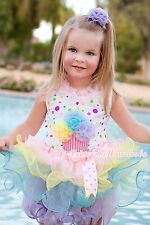 Baby White Rainbow Dots Yellow Blue Lavender Birthday Rainbow Petal Skirt NB-8Y
