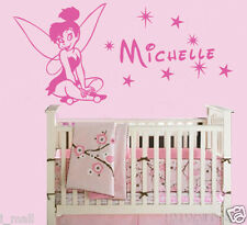 Personalise Name Wall decal with Tinkerbell Removable wall sticker for kids