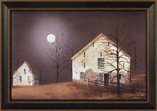 STILL OF THE NIGHT by Billy Jacobs 15x21 FRAMED PICTURE Farm Barn Full Moon