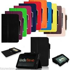 "Leather Case Cover Stand For Amazon Kindle Fire HD 7"" 8.9"" inch Smart Wake/Sleep"