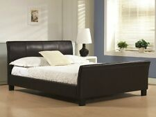 Stunning Sleigh 4ft6 Double 5ft King Size Leather Bed + Memory Foam Mattress