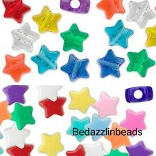 Lot of 100 Mixed Assortment Plastic Acrylic 13mm Star Pony Beads with Big Hole