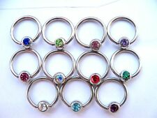 14g 10mm captive bead ring bcr cbr  5mm Gem Ball Helix Nipple Ear Body Jewellery