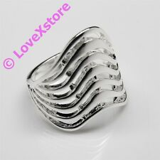 925 Sterling .925 Silver Plated Upper-Wave Ring Size 7 8 9 Rings Free Shipping