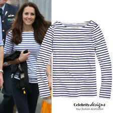 td51N Celebrity Style 3/4 Sleeve Fitted Sailor Striped Cotton T-shirt Top