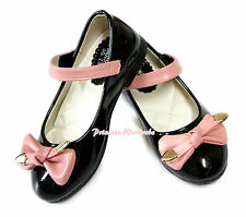 Pure Black Pink Bow Enamel Leather Girl School Dance Wedding Party Shoes 888