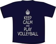 Keep Calm And Play Volleyball T Shirt Navy