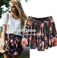 sk74 Celebrity Style High Waisted Retro Floral Print Pleated Skater A Line Skirt
