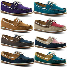 New Ladies Casual Comfortable Stylish Lace Up Flats Deck Boat Shoes Sizes UK 3-8
