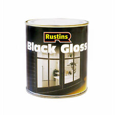 Black Gloss Paint for Interior / Exterior Wood & Metal by Rustins in 2 Sizes