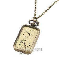 Retro Bronze Two Dial Rectangle Locket Necklace Charm Chain Clock Pocket Watch