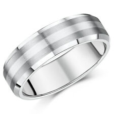 Brand New Titanium and Silver 5mm / 7mm Bevelled Edge Wedding Ring Band