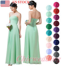 Long Chiffon Bridesmaid Dress Women's Prom Evening Formal Dress Pink Purple Blue