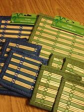 TRIVET & COASTER SET - BAMBOO - BLUE or GREEN - 6pc SET - NEW IN PACKAGE