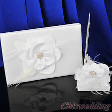 Flower White Wedding Guest Book and Pen Set Anniversary Party Guestbook Feather