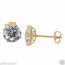 14k Yellow Gold Stud Earrings Round Basket Clear Cubic Zirconia Push Backs