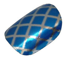 CHIX Nail Wraps Blue on Silver Fishnet Fingers Toes Foils Stickers Trendy fn4