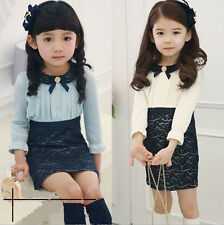 Kids Girls Toddlers False Two Lapel Lace Floral Princess Skirt Formal Dress 2-7Y