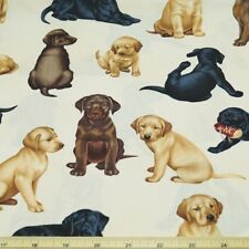 Adorable Puppies Looking For Trouble 100% Cotton Fabric