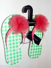 NEW GIRLS TOMMY HILFIGER SANDALS FLIP FLOPS PINK AND GREEN FLOWER PUFF AUTHENTIC