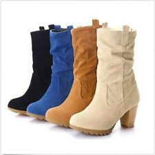 New Arrival Women Mid-calf Classics casual Boots High Heel Shoes AU All Size