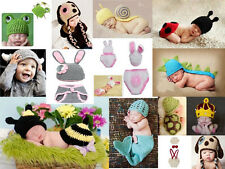 1 Set  Baby Knit Crochet Aminal Beanie Hat Costume Photography Props Newborn-24