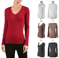 Womens Basic V Neck Long Sleeve Top Fitted Solid TEE Plain Cotton T Shirt S M L