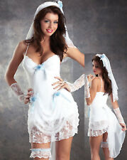 Ladies Sexy Bride To Be Fancy Dress Costume Sizes 8-20 Bridesmaid Hen Night