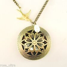 Large Brass Antique Vintage Style Locket Real Pearl Gold Swallow Necklace BOXED