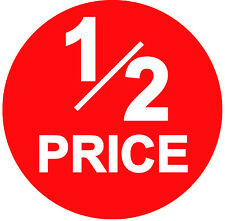 45mm Bright Red 1/2 PRICE Point Sale Stickers / Sticky Labels / Swing Tag Labels