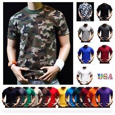 Mens Short Sleeve Plain Crew Neck T-Shirts Lot Solid Cotton Sleeve Big &Tall