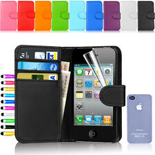 Flip Wallet Leather Case Cover For Apple iPhone 4 4S FREE Screen Protector
