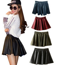 2014 New Women High Waisted PU Leather Plain Skater Flared Pleated Mini Skirt