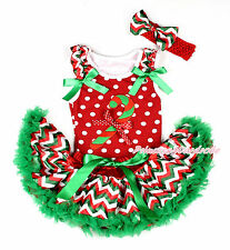 XMAS Candy Cane Red White Dot Top White Green Wave Newborn Baby Pettiskirt 3-12M