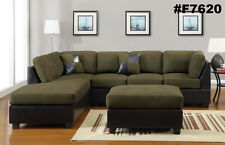 Sectional Sofa Furniture Microfiber Sectional Couch 3 Pc Living room Set 6 Color