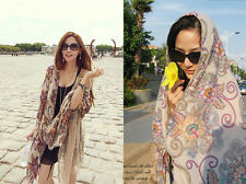 Retro Women Totem Pattern Floral Paris Yarn Long Scarf Tippet Soft Shawl Scarves