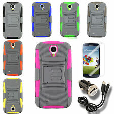 Case for Samsung Galaxy S 4 Holster Cover Belt Clip PC Silicone Screen Protector