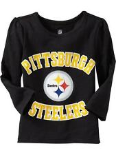 New NFL Pittsburgh Steelers Toddler Girls LS Sparkly Team Tee - Sizes 2T-5T