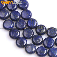 "Coin Lapis Lazuli Stone Beads For Jewelry Making 15"" Natural Stone Color Enhance"