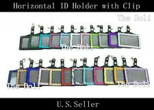 Multi-Color Horizontal Rhinestone ID Badge Holder with Alligator Clip