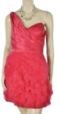 NWT BEBE ONE SHOULDER HOMECOMING RUFFLE ASYMMETRIC SILK DRESS 6-10