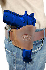 Barsony Brown Leather Yaqui Gun Holster for Taurus 9mm 40 45 Full Size