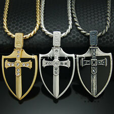 Sword Onyx Shield Pendant Chain Necklace Gold Silver Plated Mens Cross Jewelry