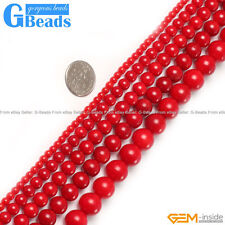 Red Coral Gemstone Round Beads For Jewelry Making Free Shipping Strand 15""
