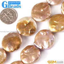 20mm coin natural freshwater pearl beads gemstone loose strand 15""