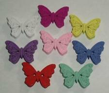 """5 x 25mm WOODEN BUTTERFLY BUTTONS - SIZE 1"""" 25mm - 2 HOLE - VARIETY OF COLOURS"""